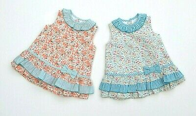 Baby Girls Alber Spanish RaRa Drop Waist Dress Floral Orange Blue Stripes 1-18M