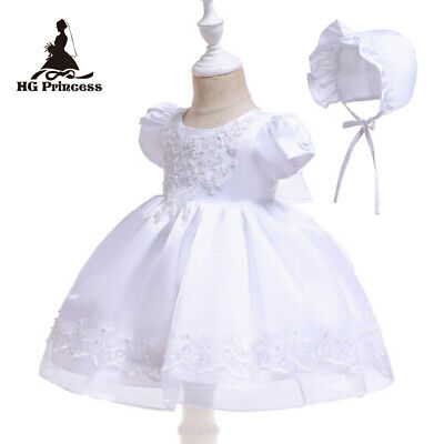 Vintage  Baby Girls Christening Gown Lace Short Sleeve Baptism Dress ZG9