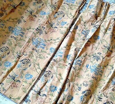 PAIR of 2 STUNNING VINTAGE lined Brocade embroidered Designer CURTAINS 106x75cm