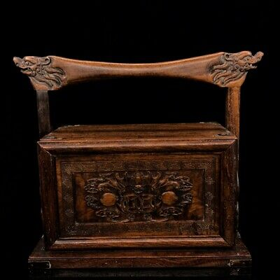 """12"""" Chinese old antique huanghuali wood handcarved bat Peach foot box"""