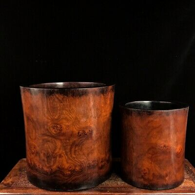 """8"""" Chinese old antique huanghuali wood handmade Grimace pen pot A pair"""