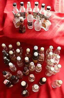 Lot 46 Vintage Mini Whiskey/Liquor Bottles-44 R Glass-Some May Be Rare-All Empty