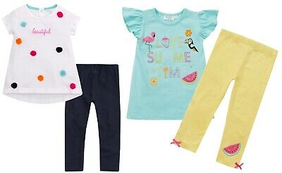 Girls 2 Piece Outfit Set Summer T Shirt + Leggings Beautiful Summer Kids Size