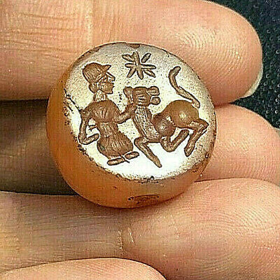 Ancient Carnelian Bactrian Intaglio A man training a Tiger Bead Signet Stamp