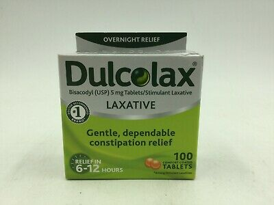 Dulcolax Laxative Overnight Relief In 6-12 Hours 5 Mg 100 Tablets Exp: 04/2020