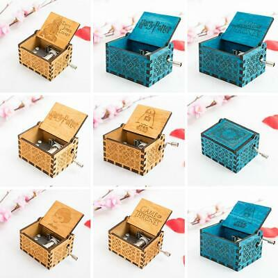 Retro-Style Wooden Hand-Carved Square Hand Shake Music Box WT88 06