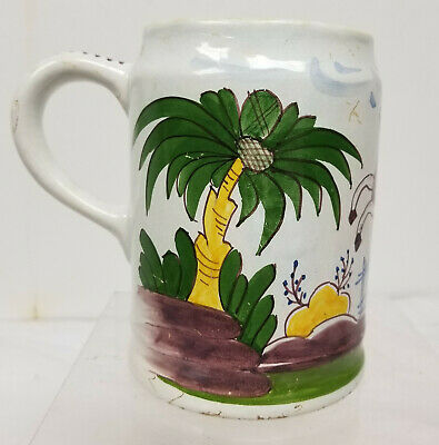 Antique French Delft Faience Dutch Polychrome Horse Mug Cup Majolica Maiolica