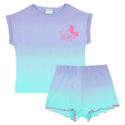 Girls Unicorn Summer Pyjamas Short Gradient Ombre Pjs Short + T Shirt Kids Size
