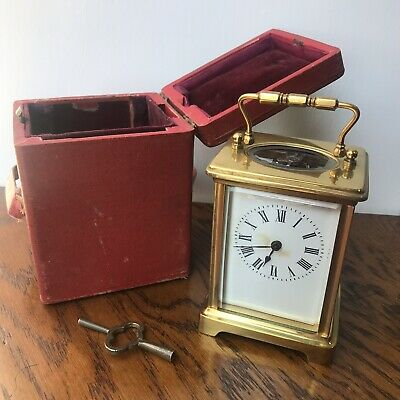Antique French Brass Carriage Clock In Case