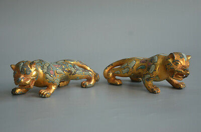 Superb Chinese Ancient Gold Plated Bronze Inlaid Turquoise Pair Of Tiger Statue