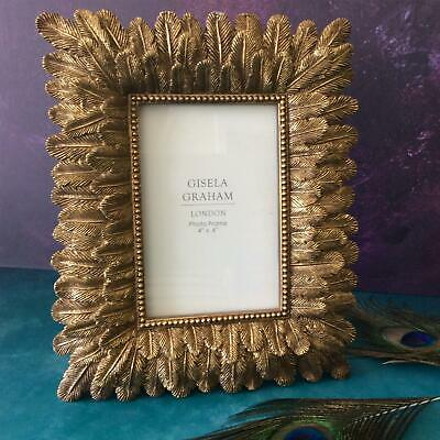 "Gold Ornate Feather Design Picture Frame 4""x6"" Gisela Graham"