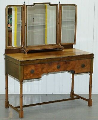Rare Circa 1920 Waring & Gillows Lancaster Burr Walnut Dressing Table Inc Mirror