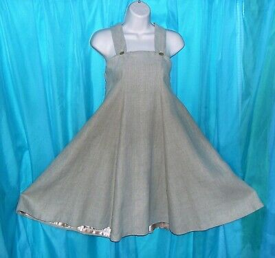 Exquisite BEIGE TAN LINEN Springtime CLASSIC Styled BOHO Mod Natural DRESS 8