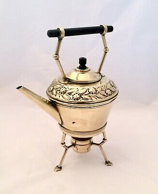 Arts & Crafts Brass Spirit Kettle On Trivet With Flower Detail And Ebony Handle