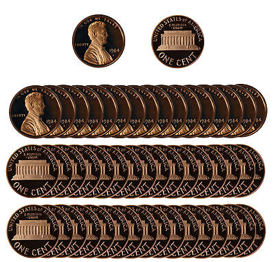 1984 Gem Proof Lincoln Cent Roll - 50 US Coins