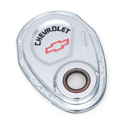 Chevy Timing Chain Cover, Small Block, Chrome, With Chevrolet Script & Bowtie