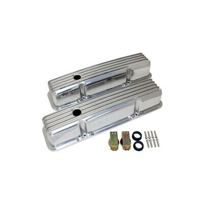 Polished Aluminum Chevy Small Block 283-400 Tall Valve Covers, Full Finned,