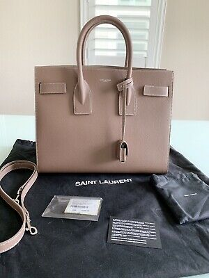 6865fa992f5 New Authentic YSL Yves Saint Laurent Classic SAC DE JOUR Handbag Tan small  size