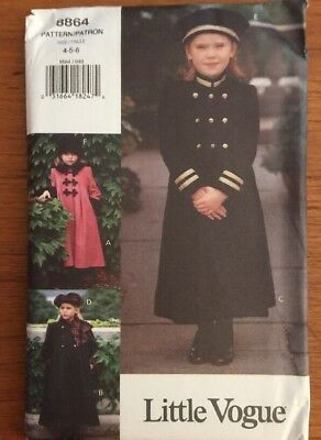 Vogue 8864 Childs Girls Military Coat Double Breasted  Hat 4-5-6 New  Vtg  FF