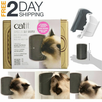 Catit Senses 2.0 Self Groomer Corner Message Cat Toy Brush Adhesive Strips Hair