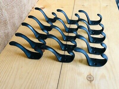 "15 Vintage Style Cast Iron Wall Coat Hooks Hat Hook Hall Tree 3"" Black Towel"
