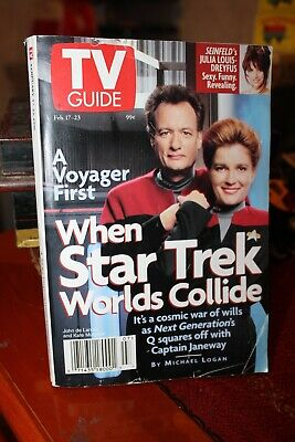 Tv Guide A Voyager First When Star Trek Worlds Collide Feb 1996 Usa Tv Guide