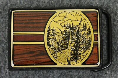 Vintage 80's 1984 Waterfall Nature Outdoors Solid Brass Nap Inc Belt Buckle