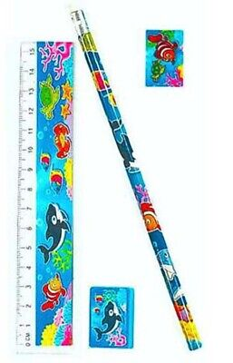 Sealife Stationery Sets - 4 Pieces - Pencil Eraser - party loot bag filler