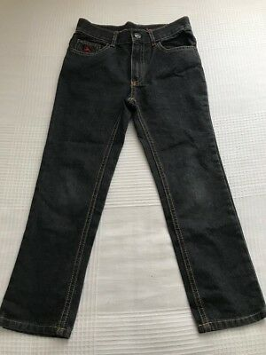 New Boys American Hawk Size 7 Years 100% Cotton Jeans Trousers In Grey Blue