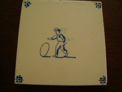 Antique Delft Tile Man with Hoop   20/84