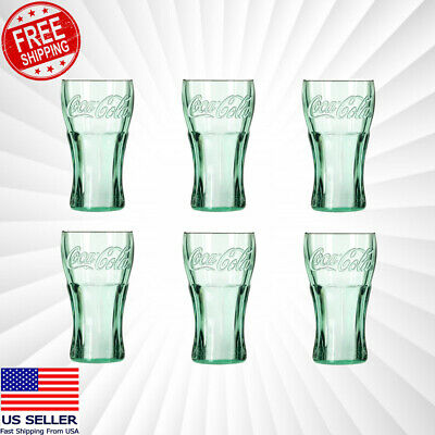 Lots OF Genuine Coca-Cola Green Glass Contour Glasses New Free Shipping 16 oz