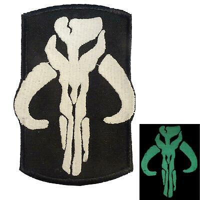 embroidered boba fett GITD mandalorian star wars bounty hunter glow hook patch