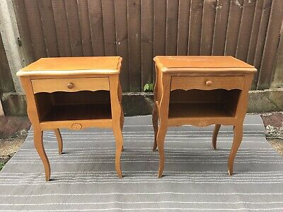 Pair Of Wooden French Country Shabby Chic Bedside Tables