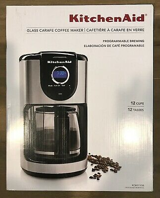 KITCHENAID 12-CUP GLASS Carafe Coffee Maker Programmable Brewing Onyx Black