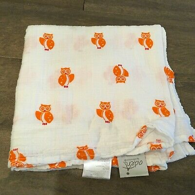 Aden + Anais Orange Owl Baby Blanket Swaddle Muslin Cotton White Security Lovey
