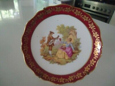 vintage limoges porcelain plate france  and stand french couple