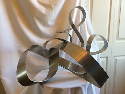 Vintage Mid Century Modern Kinetic Ribbon Sculpture Abstract Free-form Steel