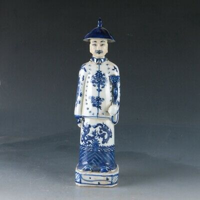 Chinese Blue and white porcelain Handwork Carved Official Statue ZJ287