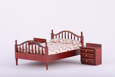 1:12 Scale Dollhouse Mahogany Furniture Bedroom Bed End Side Tables Miniature