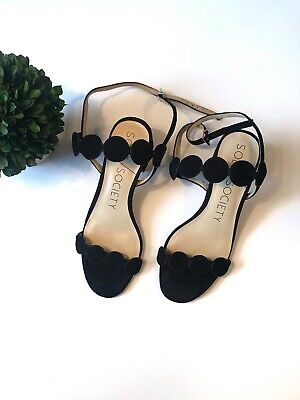70d3fcc3f SOLE SOCIETY SO-SHEA Black Strappy Block Heeled Sandals Size 6 ...