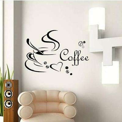 Removable Coffee Cups Wall Sticker Kitchen Cafe Decals Wall Art Home Decor SW