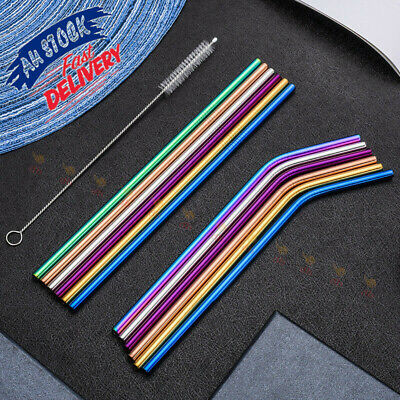 4x Reusable Stainless Steel Straws Metal Bent Straight Drinking Straws + Brushes