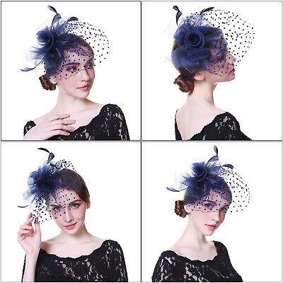 Women's Wedding Party Race Fascinator Flower Hair Clips Veil Feather Cocktail