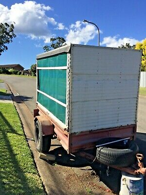 Box trailer 6 x4 with shade canopy, sides unregistered old, rusty great wheels