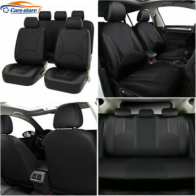 Black Synthetic Leather Car Seat Covers Full Set Front Rear Auto Sedan Cover 9pc