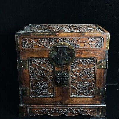 "13"" Chinese old antique huanghuali wood handcarved Plum blossom Jewelry box"