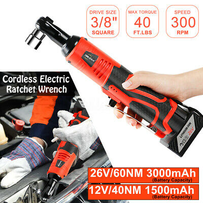 12/26V 3/8'' Handheld Cordless Ratchet Wrench Tool w/ Battery & Charger Set