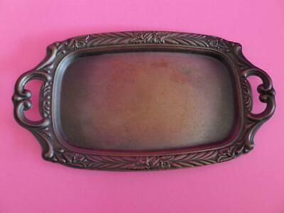 Art Nouveau Style Pressed Copper Tray with Iris Border, Antique Serving Dish