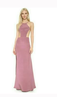 4cbea6b654a Olcay Gulsen M Silk Dress Pink Long Cut Out Maxi Formal Gown Cocktail Mauve  Prom