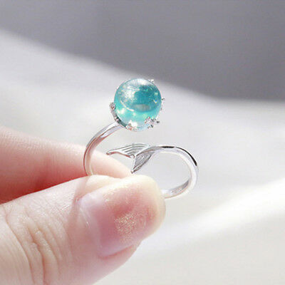 Women Tail Mermaid Fish Whale Ring Band Crystal Adjustable Open Rings SW